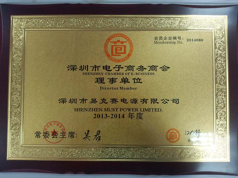 Congratulations to MUST POWER became one of honorable Shenzhen Chamber of E-business director member
