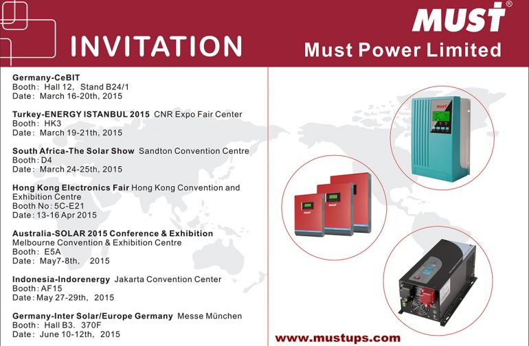 Our MUST POWER LIMITED will attend the following fair in 2015