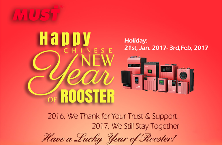 Chinese Spring Festival Holiday: 21st, Jan to 3rd, Feb